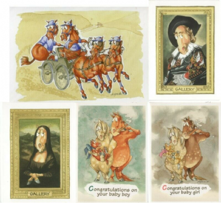 Comedy Equine Cards by Kates Art Set of Five Different Design Blank Card